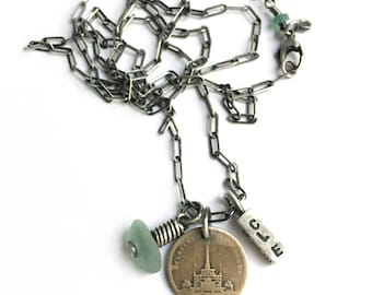 Vintage Cleveland Public Square May Co Soldiers Sailors Monument Token CLE 216 Lake Erie Beach Glass Seaglass Sterling Silver Charm Necklace