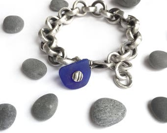 Heavy Vintage Sterling Silver Cable Chain Bracelet Cobalt Blue Seaglass Charm Recycled Upcycled Adjustable Size Swivel Clasp