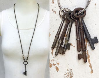 Real Antique Skeleton Key Necklace *BULK OPTIONS*  Mens Necklace Vintage Industrial. Rustic masculine Jewelry bronze Brass ox dark chain Zz