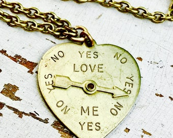 Spinner Heart Necklace Love Me? Yes No   *BULK DISCOUNT*  Love Meter spinning arrow gold brass movable charm hipster steampunk valentine A9