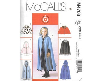 Toddler Girls Cape Caplet Hood 2 to 5 Sewing Pattern McCalls M4703