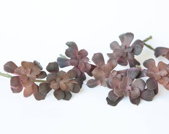 Fake Succulents - 13 Echeveria Succulents in Plum Purple - Faux Succulents - Artificial Succulents - ITEM 01133