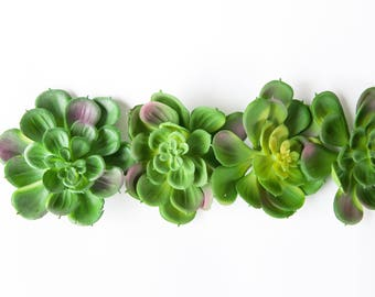 Set of 5 Artificial Rosette Echeveria Succulents in Green, Pink and Yellow - Fake succulents - artificial succulents - ITEM 01157