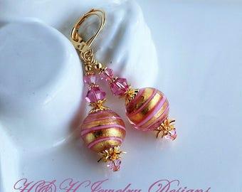 Murano Glass Earrings, Pink Gold Venetian Murano Earrings, Pink Glass Earrings, Gold Earrings, Gold Foil Murano Drop Earrings, Murano Glass