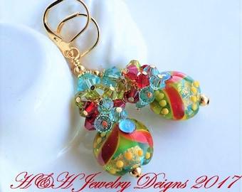 Lampwork Earrings, Blue Green Red Glass Lampwork Earrings, Swarovski Crystal Cluster Earrings, Gold Earrings, Statement Earrings, Red Glass