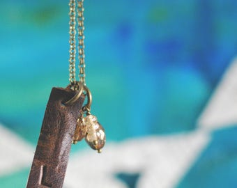 Essential Oil Diffuser Necklace {Antique Bronze + Leather + Czech Glass Beads}