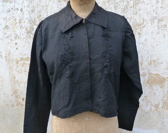 Vintage Antique  1890s Victorian French black jacket damask folk costume size S/M