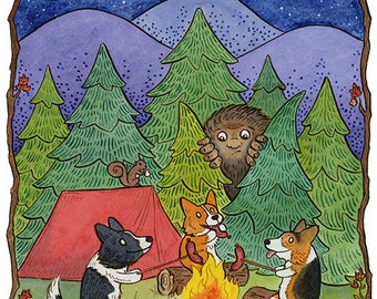 "Corgi Camping with Sasquatch Art Print 8""x10"""