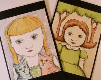 LARGE greeting cards- sandy mastroni, cat art, trees art, illustration,  handmade,  two card set