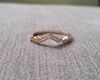 "Diamond Florence Matching Band Rose Gold 1920s Copper Gemstone Rustic Bohemian PenelliBelle Green Exclusive ""The Florence"""