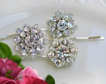 Wedding Hair Pins, Silver Bobby pins, Crystal hair clips, Bridal hair pins, Bridesmaids Hair Pin, Gift for Bridesmaid, crystal hair brooch