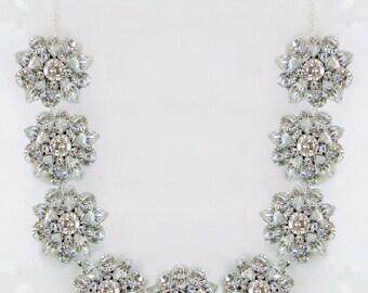 Wedding Necklace Bridal Statement Crystal Silver Jewelry Swarovski