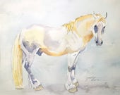 "Horse Art Original Watercolor and Ink Painting - ""Soft Gray"""
