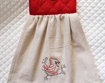 Hanging Dish Towel, Cardinal Dish Towel, Dishcloths & Kitchen Towels, Linens, Redbird, Bird Towel, Embroidered Towel, KItchen and Dining
