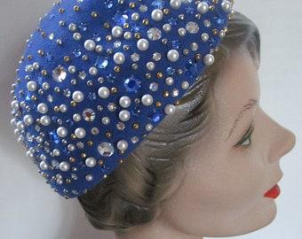 Celestial Frank Olive Blue Phonestone Calot Cap Hat Vintage 1980s Wool Pearls