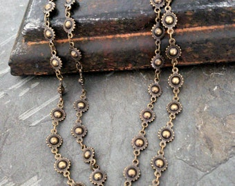 Long Antique Brass Bead Chain Necklace, Long Wrap Around Chain Necklace, Bronze, Metal Bead, Concho Chain, Southwestern, Rocker, Edgy