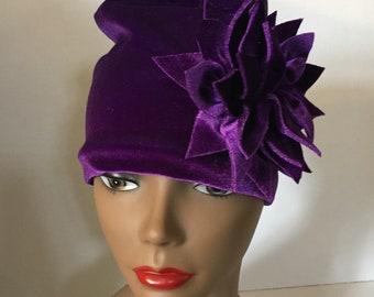 Violet Purple Velvet Hat Womens Gift Exploding Flower