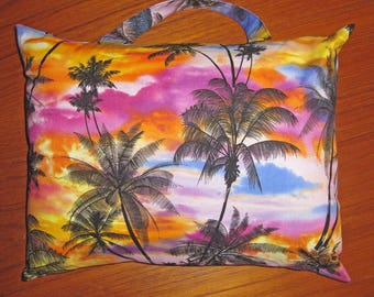 South Seas Hawaiian Palm Trees Sunset Design Travel Pillow with Handle