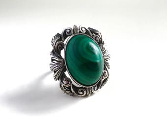 Antique Victorian Malachite Solitaire Statement Sterling Silver Ring - Beautiful Handmade Scrolled Leaf Setting