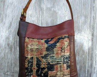 Leather Patchwork Carpetbag Small Hobo in Brown - Copper - Blue and Grey by Stacy Leigh