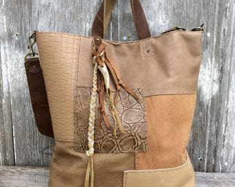 Leather Patchwork Tote Bag made in Nude - Beige - Tan - Camel Soft Leathers by Stacy Leigh