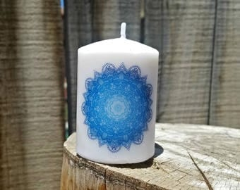 Shades of Blue Mandala 2x3 Pillar Candle