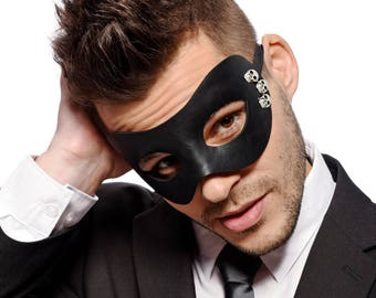 Mens - Black Masquerade Mask - Faux Leather with Skull Decoration - Prom Mask - Venetian Mask  - Party Mask - Men's - Unisex