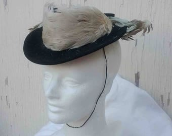Vintage Forties Black Wool Feather Adorned Fascinator Style Mini Hat / Distressed Topper to Wear or Repurpose / Deco Era