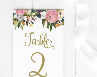 PRINTABLE Wedding Table Numbers - greenery and botanical Table Numbers - Vintage Wedding - Blush and Gold - garden floral - Wedding Decor