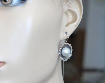 Wedding Pearl Dangles, Silver Pearl Earrings Dangle, Bridal Earrings, Pearl Wedding Jewelry