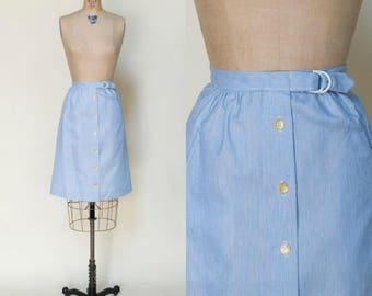 1970s Striped Skirt --- Vintage Blue Button Up Skirt