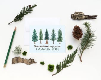 Evergreen State Christmas Card / Christmas Card / Holiday Card / Forest Card / Pacific Northwest Card / Watercolor Christmas Card Washington