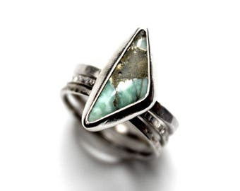 READY TO SHIP - Damele Sterling Silver Stacking Ring | Size 9 | Triangle Turquoise Variscite Green Damale | Boho Minimalist | Gugma Jewelry