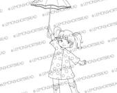 Digital Stamp Polka Dot Raincoat Girl Umbrella, Digi Download, Rain, Rainy Summer Autumn, Clip Art, Coloring Page, Scrapbooking Supplies