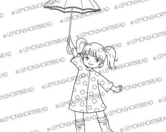 Digital Stamp Polka Dot Raincoat Girl with Umbrella, Digi Download, Rain, Summer Autumn, Clip Art, Coloring Page, Scrapbooking Supplies