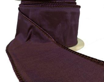 "Aubergine Purple Faux Silk Wired Ribbon  2.5"" Wide"