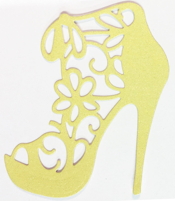 High Heel Shoe Die Cut Bright Yellow Glitter Card Stock - Glamorous Feminine Embellishment Scrapbook Card Party Invitation Art Craft Collage