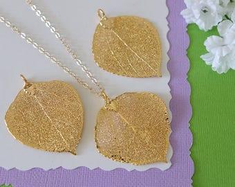 Gold Aspen Leaf Necklace, Real Leaf Necklace, Aspen Leaf, Gold Leaf Necklace, Long Leaf, Leaf Pendant LC211