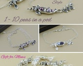 pea pod bracelet, 123456789, 10 peas in a pod, mommy bracelet, gifts for mom, sterling silver, twin, sister gift, personalized baby shower