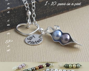peapod necklace, 123456789, 10 peas, mommy necklace, personalized gift, Gift for mom, grandma gift, sisters necklace, gift for wife, new mom
