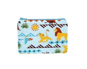 CHOOSE SIZE Lion King Zipper Pouch / Simba Mufasa Timon Pumba Camera Bag on Blue / Make Up or Coin Pouch