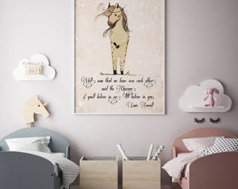 Unicorn quote, If you'll believe in me, I'll believe in you, Inspirational nursery Quote, Nursery decor, Nursery art print, unicorn nursery