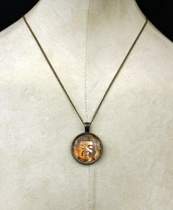 Golden Buddha pendant necklace ohm metaphysical necklace Siddhartha Gautama boho love necklace