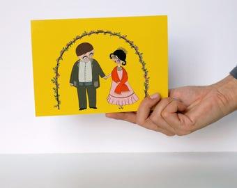 "Diego and Frida - Greeting Card - Frida Kahlo - 5x7"" - stationery"