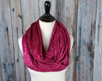 Valentines Gift - Velvet Infinity Scarf- Red Womens Scarf- Velvet Scarf- Teacher Gifts- Gift For Her - Girlfriend Gift -Winter Scarf