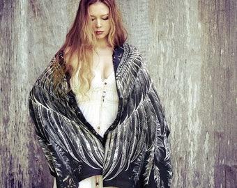 SALE Black Wings Scarf, Feather Scarf Wrap, Gothic Scarf, Black Shawl, Organic Cotton Scarf, Steampunk Accessories