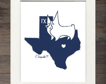 Texas Corgi Matted Art Print