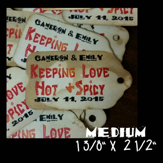 Keeping Love Hot and Spicy favor tag MEDIUM Tags Personalize with names and date Choose your Quantity MEDIUM