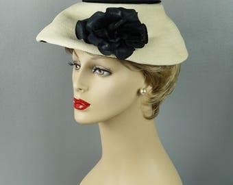 Vintage 1960s Hat Cream Straw with Black Rose Mushroom Style by Christine Sz 22