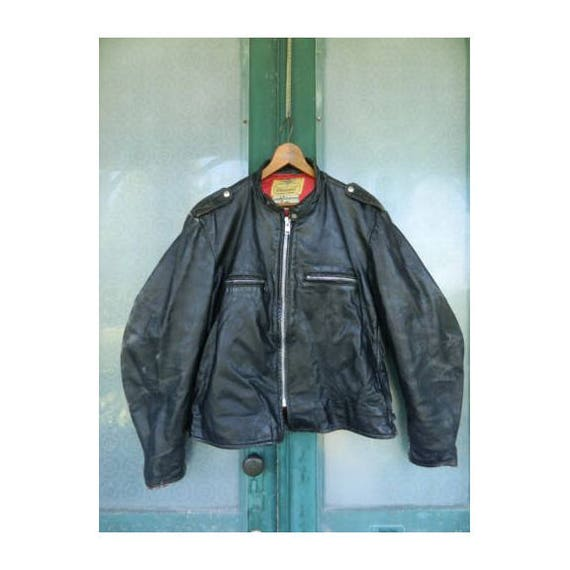 Vintage 1950s Herm's Leathertogs Black Leather Steerhide Cafe Motorcycle Jacket